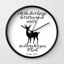 As The Deer Longs Psalm 42:1 Wall Clock