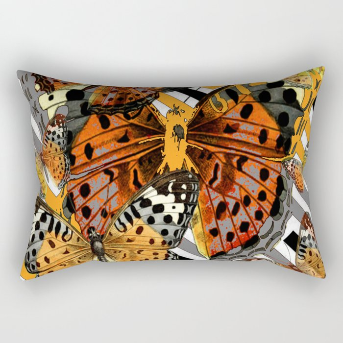 AWESOME  ORANGE-YELLOW BUTTERFLY GRAPHIC MODERN ART Rectangular Pillow