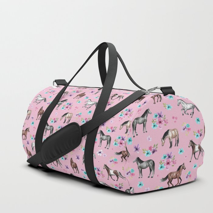 Horses & Flowers, Pink Pattern, Horse Illustration, Little Girls Room, Watercolor Duffle Bag