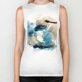 You are an Ocean - abstract India Ink & Acrylic in blue, gray, brown, black and white Biker Tank