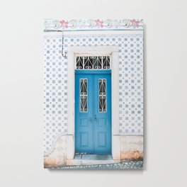 Old Blue Door with Azulejo Tiles in Cascais, Portugal. Metal Print