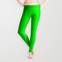 Neon Green Simple Solid Color All Over Print Leggings
