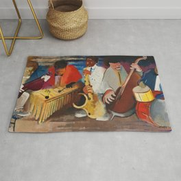 African American Masterpiece 'Jumpin Jive' by Norman Lewis Rug