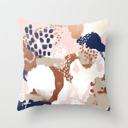Sonia - rose gold navy copper modern abstract rosegold trendy pattern cell phone accessories Throw Pillow