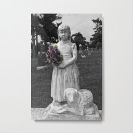 Girl Statue With Purple Roses Metal Print