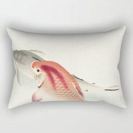 Two carp (1900 - 1930) by Ohara Koson (1877-1945) Rectangular Pillow