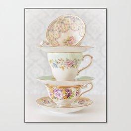 Vintage Tea Cups Border Canvas Print