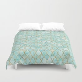 Luxury Aqua and Gold oriental pattern Duvet Cover