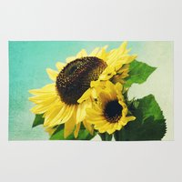 sunflowers Area & Throw Rugs featuring sunflowers by Sylvia Cook Photography