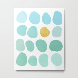 Aqua Pebbles & gold Metal Print