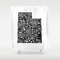 utah Shower Curtains featuring Typographic Utah by CAPow!
