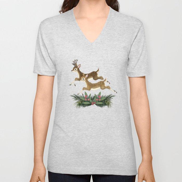 winter deer // repeat pattern Unisex V-Neck