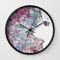 dublin Wall Clocks featuring Dublin by MapMapMaps.Watercolors