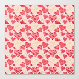 red hearts pattern pink Canvas Print