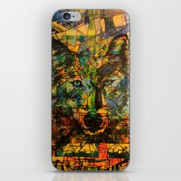 Wolf Stylized Blue/Green/Yellow iPhone Skin