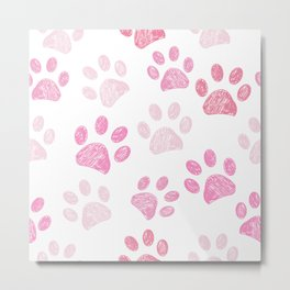 Pink colored paw print background Metal Print