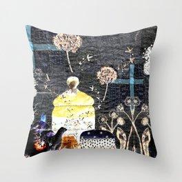 Magic tea in the garden Throw Pillow
