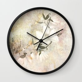 Magnolia Blossoms on a Branch Wall Clock