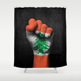 Lebanese Flag on a Raised Clenched Fist Shower Curtain