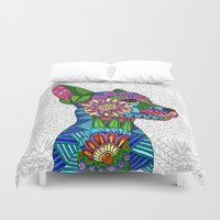 puppy Duvet Covers featuring Folk Art Puppy by ArtLovePassion