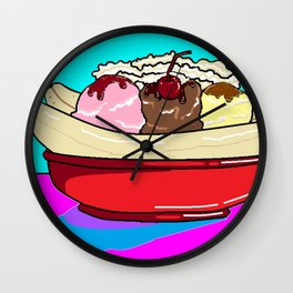 "A Banana Split with ""the works"" Wall Clock"