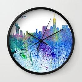 New York City Skyline Silhouette Impressionistic Splash Wall Clock