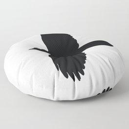 Jackdaw In Flight Silhouette Floor Pillow
