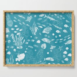 Watercolor Seascape in Dark Teal Serving Tray