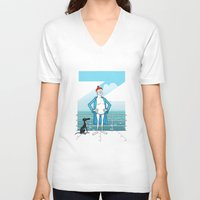 wes anderson V-neck T-shirts featuring THE LIFE AQUATIC WITH STEVE ZISSOU (Wes Anderson, 2004) by Mario Morales