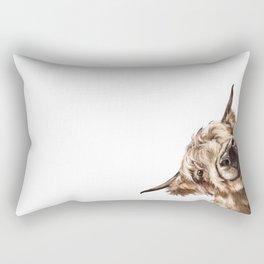 Sneaky Highland Cow Rectangular Pillow