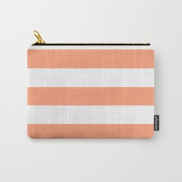Light salmon - solid color - white stripes pattern Carry-All Pouch