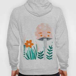 pink mushroom with floral elements Hoody