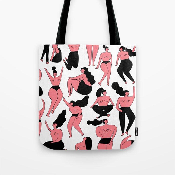 Pink Girls Pattern Tote Bag