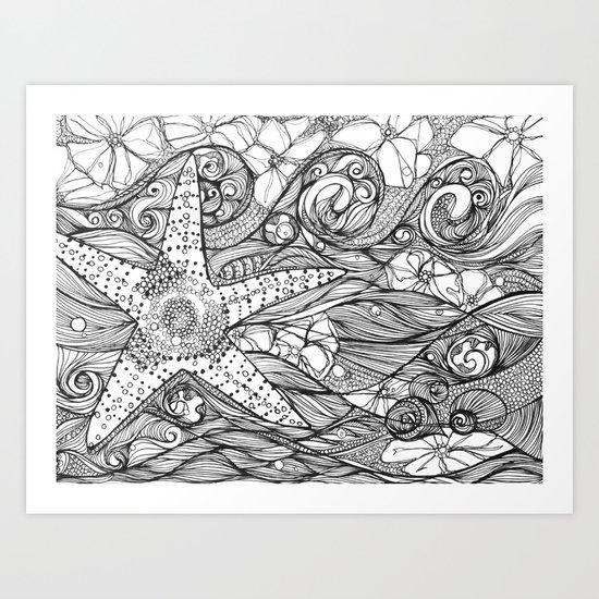 Starfish went out swimming Art Print