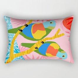 Besties - retro throwback memphis bird art pattern bright neon pop art abstract 1980s 80s style mini Rectangular Pillow
