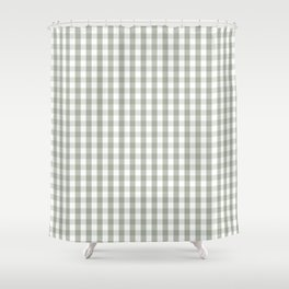Desert Sage Grey Green and White Gingham Check Shower Curtain