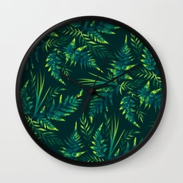 Fern leaves - green Wall Clock