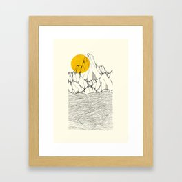 Sun and sea cliffs Framed Art Print