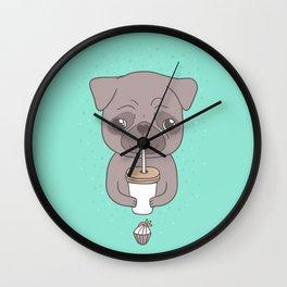 Pug, coffee & cupcake Wall Clock
