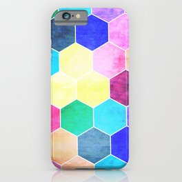 Honeycombs print, colorful hexagons iPhone Case