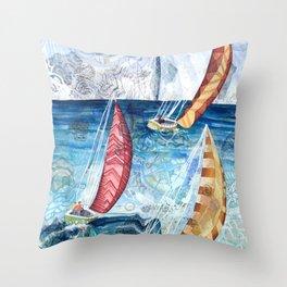 Boat Racing Throw Pillow