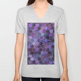 Purple geometric hexagonal elegant & luxury pattern Unisex V-Neck
