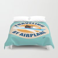 airplane Duvet Covers featuring Airplane by BATKEI