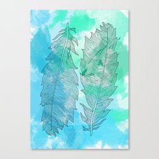 Feathers on Watercolor Canvas Print