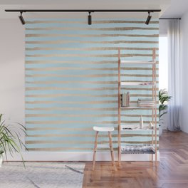 Abstract Stripes Gold Tropical Ocean Sea Turquoise Wall Mural
