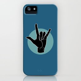 ILY - I Love You - Sign Language - Black on Green Blue 07 iPhone Case