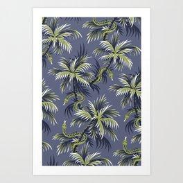 Snake Palms - Light blue/gold Art Print