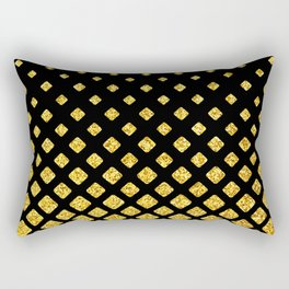 Art Deco Glitter-Gold Diamonds on Black Pattern Rectangular Pillow