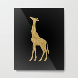 Black and Gold Giraffe Metal Print