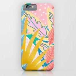 Modern Jungle Plants - Bright Pastels iPhone Case